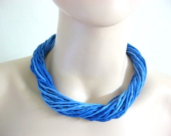 Silk Necklace in Blue