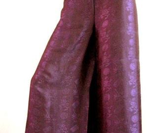 Silk Wrap Pants in Purple/Free Size
