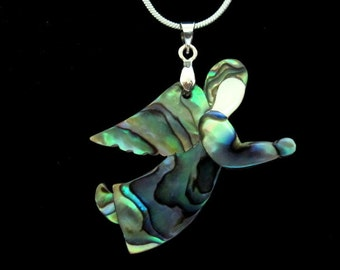Abalone Fairy Pendant Necklace-FREE SHIPPING COST