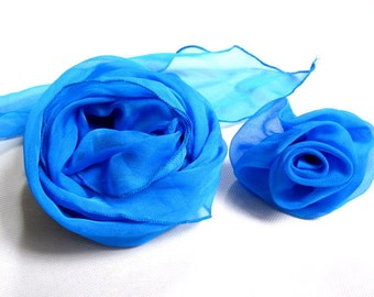 Chiffon Scarf with Rose Brooch in Blue