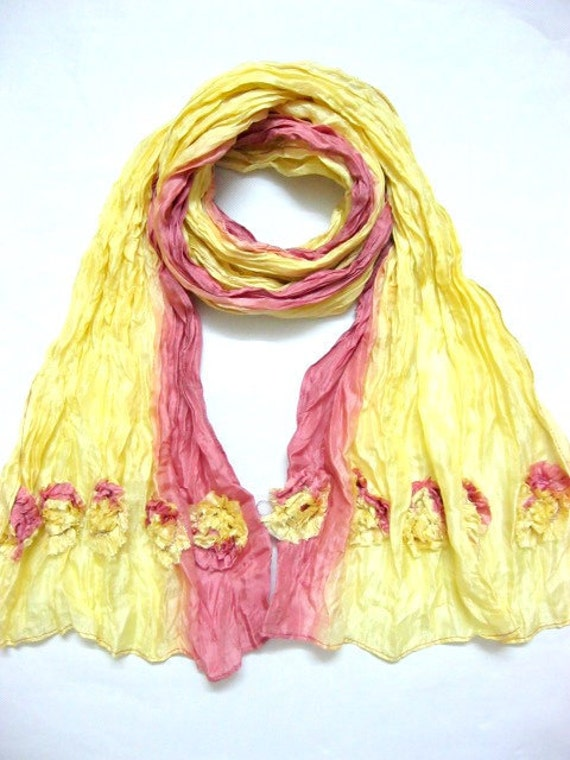 Silk Scarf with beautiful flowers in Pink and Yellow
