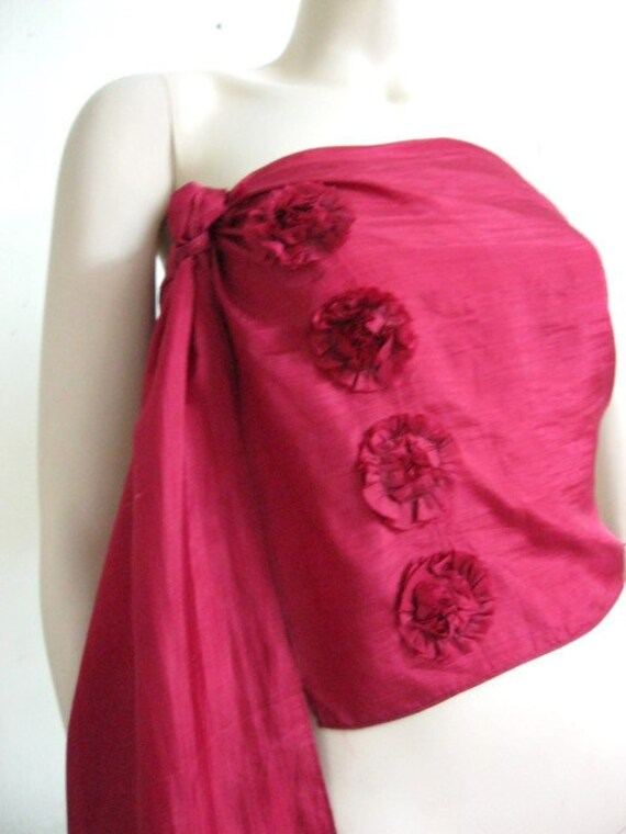 Silk Scarf with beautiful flowers in Red