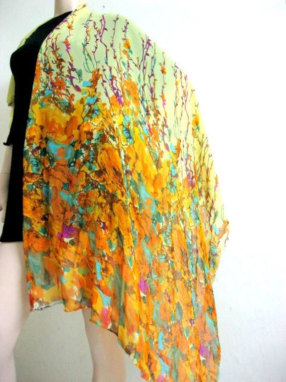 Floral Chiffon Silk Scarf Yellow Orange Purple Pareo Swim Cover-up Sarong Headband Belt