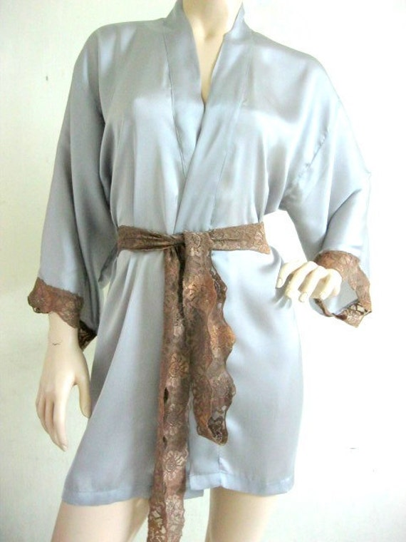 Kimono Robe in Gray Silk Satin Beach Gift for Her Loungwear Valentine Day Anniversary Wedding Bridal Shower Nightgown