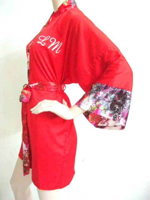 Silk Satin Personalized Kimono Robe in Red - Reserved Listing for Griffin