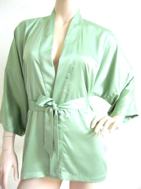 Silk Satin Kimono Robe in Light Green Short Kimono Gift for