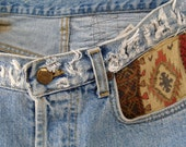 """ripped and distressed tapestry lee shorts blue cut offs size 33"""" only one available"""
