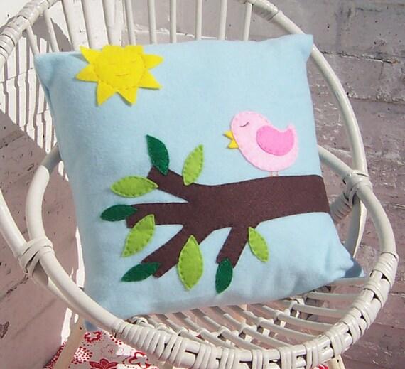 Childrens bird cushion / pillow cover in light blue