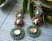 Reserved *** Long emerald green and bronze embroidered earrings (with baby deer)