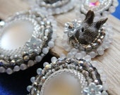 """Bead embroidered earrings """"Silver Rabbit"""""""
