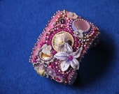 Pansies and violet embroidered cuff bracelet