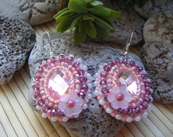 Delicate oval baby pink embroidered earrings