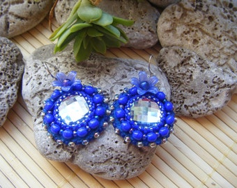 Round cobalt blue embroidered earrings
