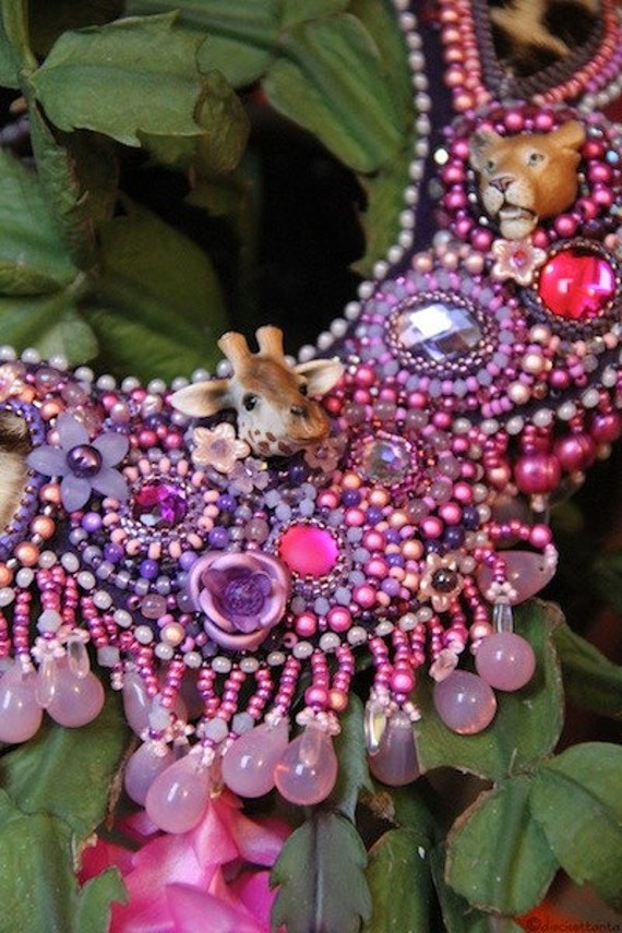 Wild animals bead embroidered necklace.
