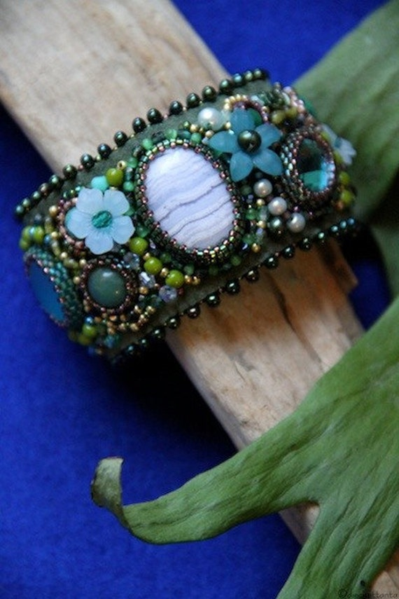 Embroidered bead cuff bracelet moss green with chalcedony cabochon