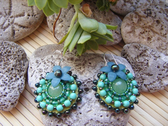 Round mint green and teal embroidered earrings