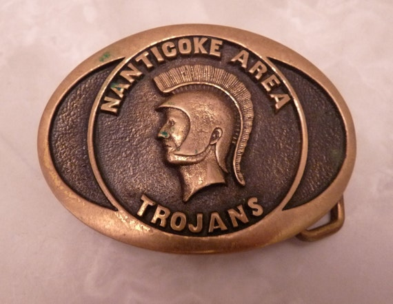 Vintage 1978 Brass Nanticoke Area Trojans Belt Buckle