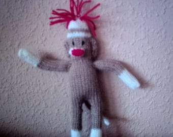 Pdf knitting pattern for Benji sock monkey.