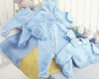 PDF Knitting pattern full set of baby clothes.