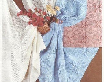 PDF Knitting pattern Sirdar snuggly 3266 lacy shaws pram and cot cover.