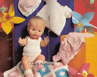 Knitting pattern Knitted doll set 111 for 12 and 14 inch dolls.