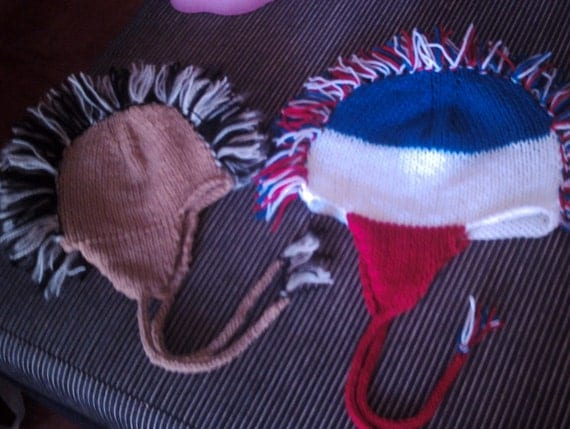 Knitting pattern for 2 styles of Mohawk hat with fringe earflaps and I cords