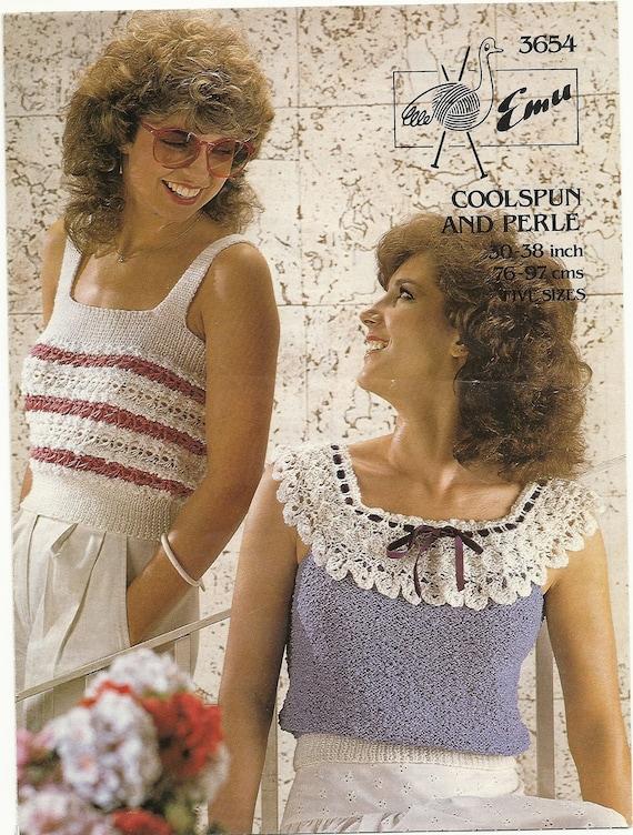 Knitting   pattern Emu 3654 Ladies tops 30 to 38 inch.