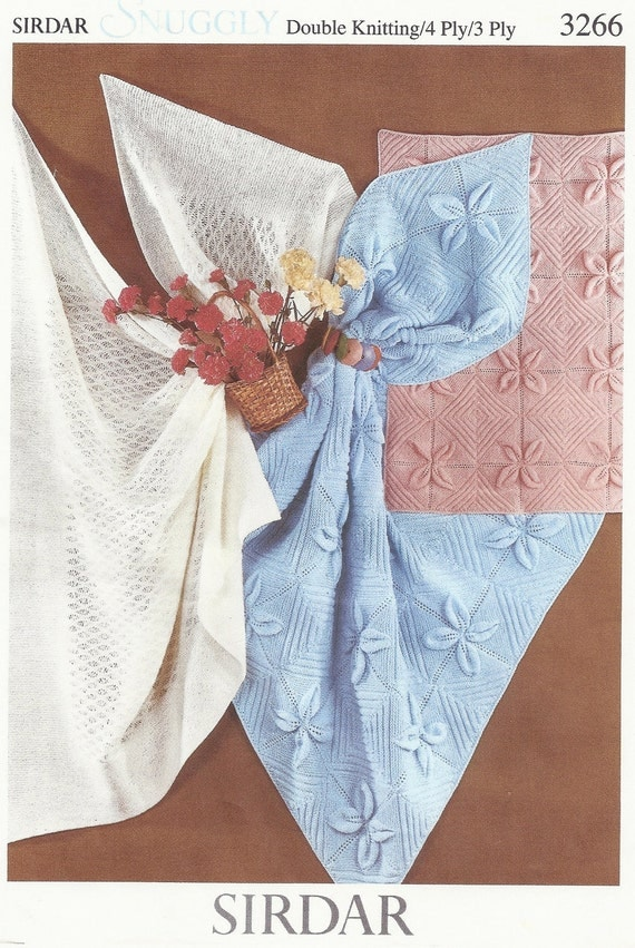 PDF Knitting pattern Sirdar snuggly 3266 lacy shaws pram and
