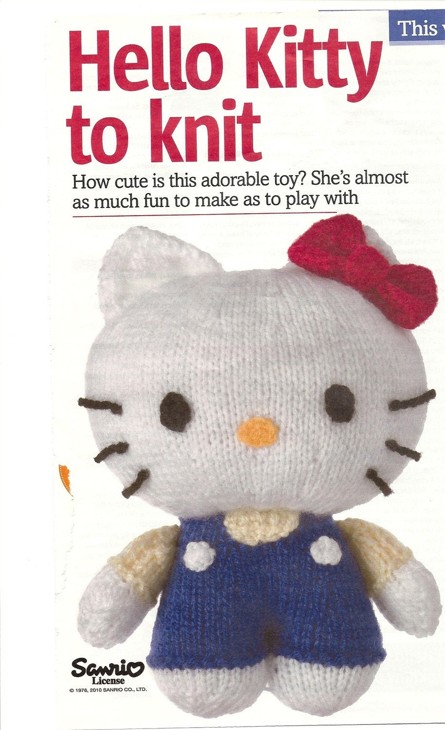 Knitting Pattern Hello Kitty : Knitting pattern Hello kitty toy
