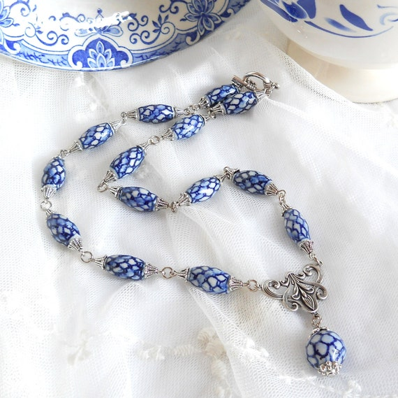 Delftdelft blue necklace blue necklace delft blue jewelry delft blue and white necklace delft blue style necklace