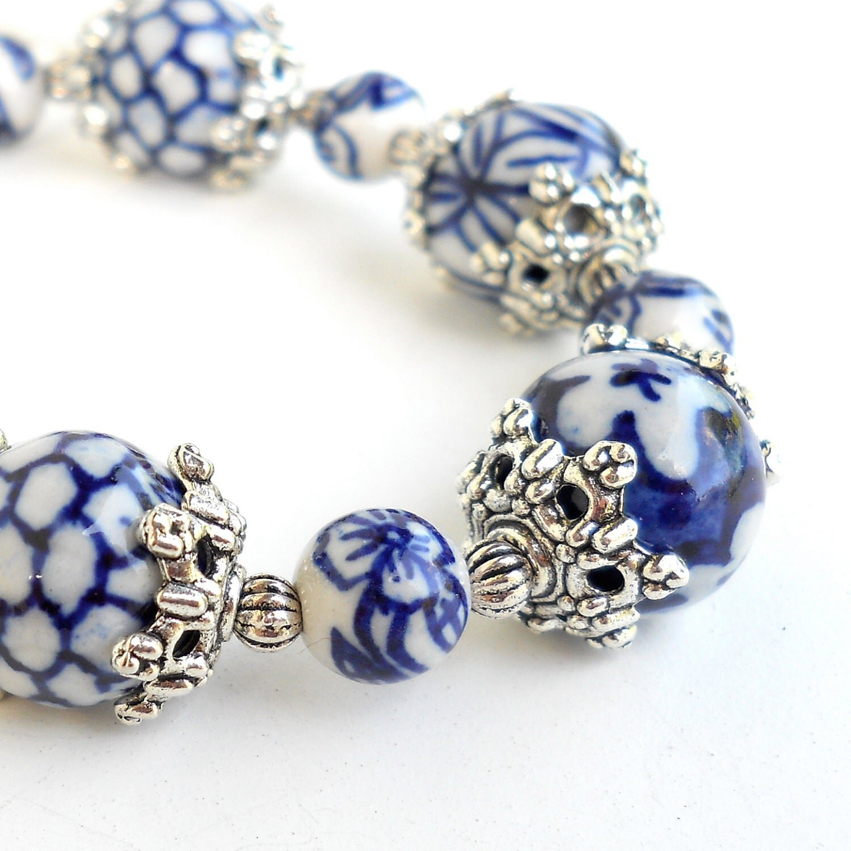 Blue Charm Bracelet: Delft Blue Bracelet Delft Blue Jewelry Ceramic Beads