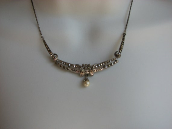 Vintage Wedding Day Silver, Marcasite and Pearl Necklace