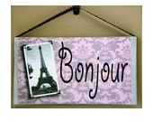 French Welcome Sign Bonjour Hello Eifel Tower Paris