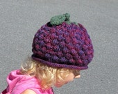 Raspberry Blackberry Grapes Hat - Child Size - Soft Hand Knit - Made to Order
