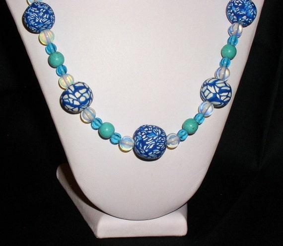 Blue & White Millefiori Necklace