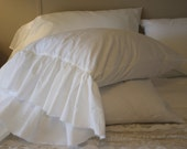 """shabby chic pillow case with 8 """" frayed ruffle ( king )"""