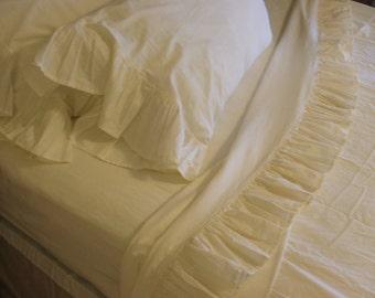 shabby chic cotton ruffled sheets