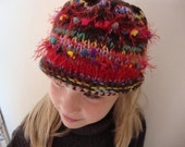 Girl's Striped Knit Hat in Reds and Brights - Back to School