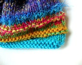 Free shippping with coupon code-----Handmade Striped Women's Knitted Hat in Turquoise, Blues, Oranges, and Golds - OOAK