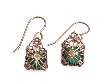 Filigree Wrapped Crystal Pierced Earrings