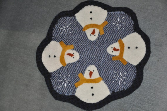 Handmade Wool Candle Mat - Snowman with Yellow Scarf