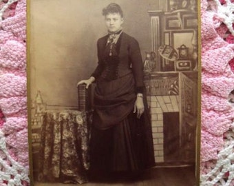 Vintage Victorian Lady in Bustle Dress Sepia Photo