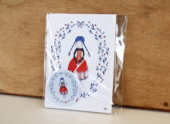 Greeting card and pin set - A girl in blue and red