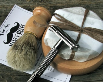 3 Shave Kits with Razor and Boar Brush