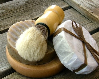 4 piece Shaving kit, handmade shave set soap boar brush