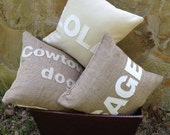 Pillow - Burlap and Cotton with Custom Name