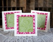 Swirl into Spring Handmade Greeting Card with Hot Pink Animal Pattern Ribbon, boxed set of 3