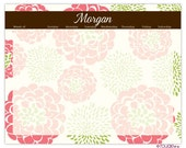 "PEONY weekly planner with monogram - 14"" x 11"" with magnet, wall mount and dry erase marker included"