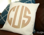 monogrammed throw pillow - NEW COLORS and styles - customize font style, border and ink color