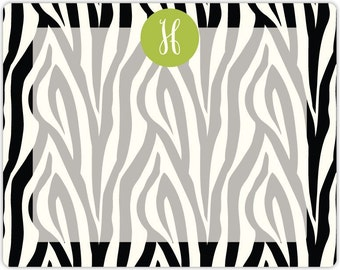 ZEBRA dry erase message board with monogram - magnet and marker included